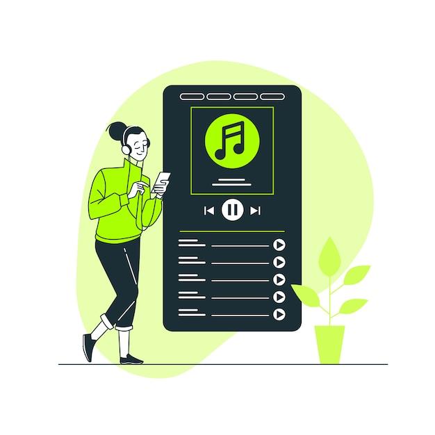 Più illustrazione di concetto di musica Vettore gratuito