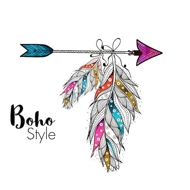 Piume oro in stile boho appesi sulla freccia, elementi creativi disegnati a mano etnica. Vettore gratuito
