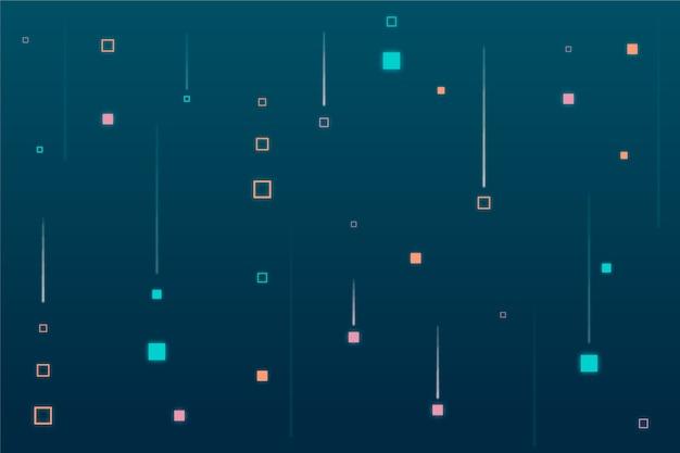 Pixel astratto pioggia sfondo blu Vettore gratuito