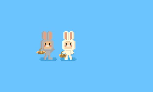 Pixel simpatico personaggio in costume da coniglio Vettore Premium