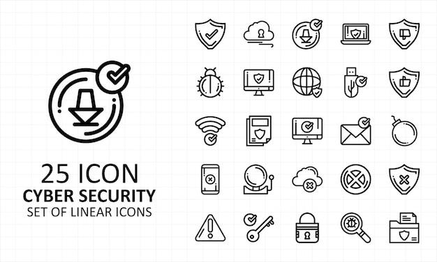 Pixel stabilito dell'icona di sicurezza cyber perfetta Vettore Premium