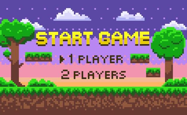 Pixel start game, green location, adventure vector Vettore Premium