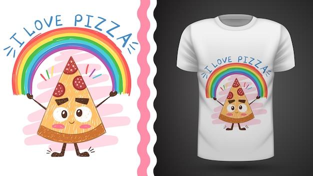 Pizza carina - idea per t-shirt stampata Vettore Premium