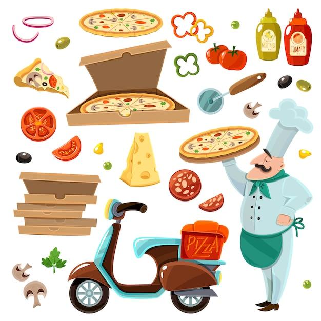 Pizza cartoon set Vettore gratuito
