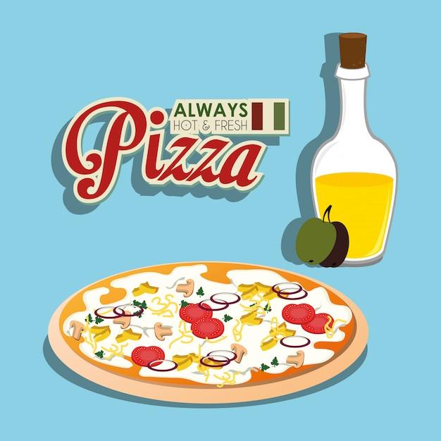 Pizza cibo italiano Vettore gratuito