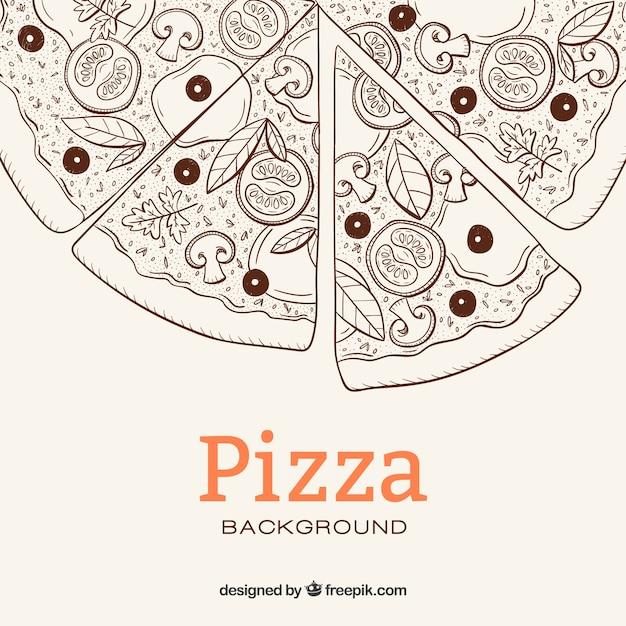 Pizza di schizzo sfondo Vettore gratuito