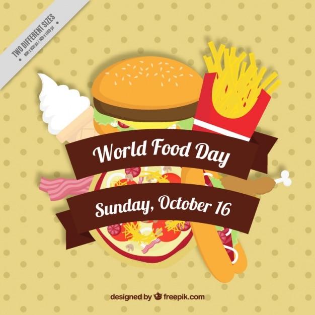 Pizza e hamburger per la giornata mondiale dell'alimentazione Vettore gratuito
