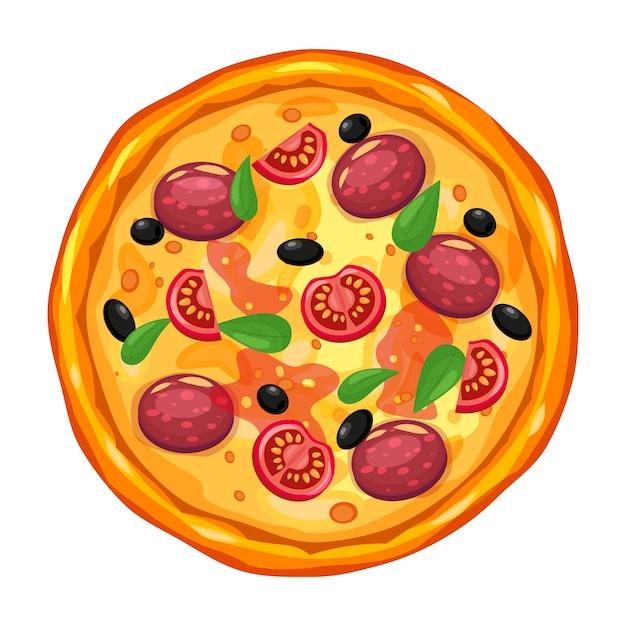 Pizza fresca con diversi ingredienti pomodoro, formaggio, olive, salsiccia, basilico. fast food tradizionale italiano Vettore Premium