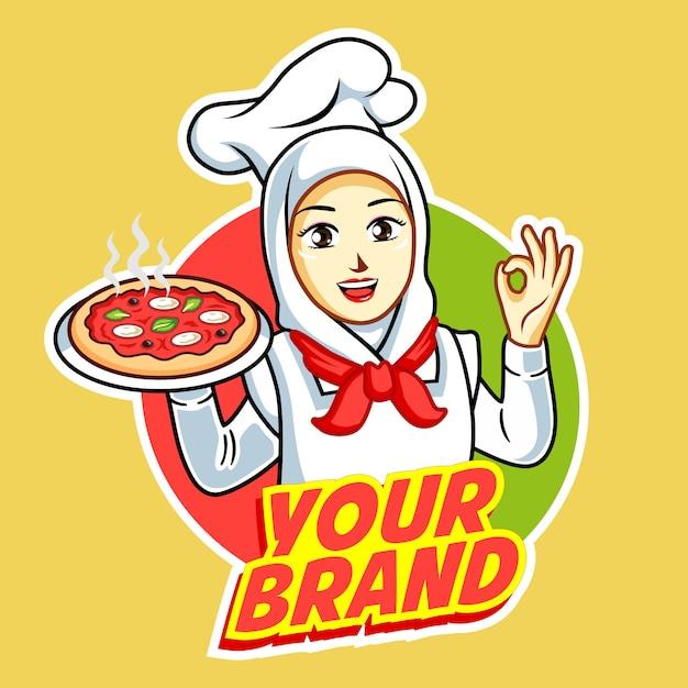 Pizza logo con bella donna chef con pollo alla griglia sulla sua mano. Vettore Premium