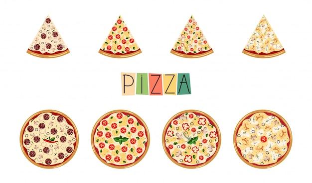Pizza set grande. diversi ingredienti tradizionali. pizza italiana intera con fette: margarita, frutti di mare, vegetariano, peperoni. Vettore Premium