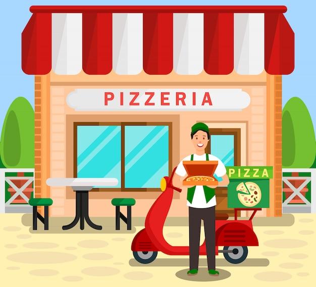 Pizzeria, bakery delivery service illustration Vettore Premium