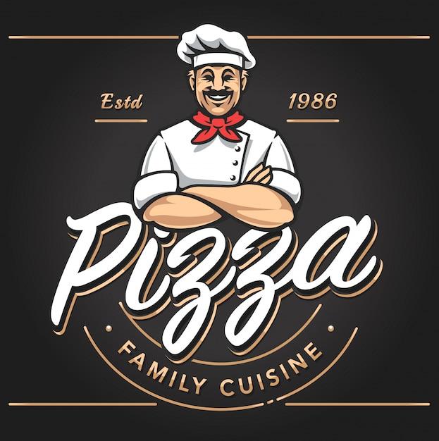 Pizzeria Emblem Design Vettore gratuito