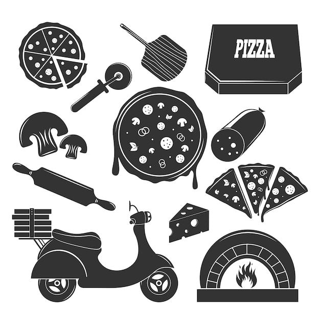 Pizzeria monochrome elements set Vettore gratuito