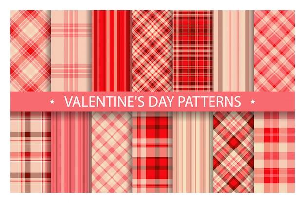 Plaid pattern ornato senza soluzione di continuità. impostare san valentino sfondo vettoriale. collezione di tessuti. Vettore Premium