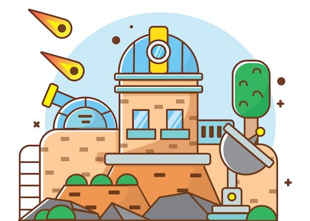 Planetario di illustrazione piatta, illustratore vettoriale adatto per diagrammi, infografica, illustrazione di libri, risorse di gioco e altri beni correlati grafici Vettore Premium