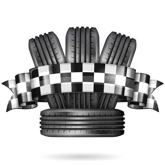 Pneumatico da corsa su bianco Vettore Premium