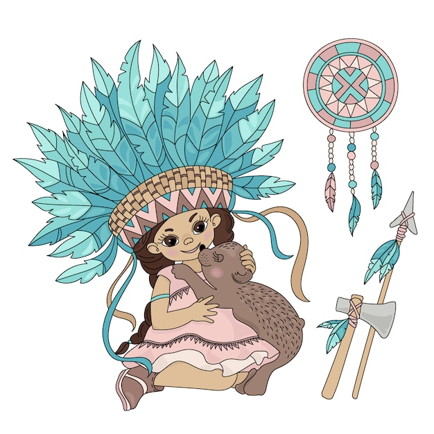Pocahontas bear indian princess animal Vettore Premium
