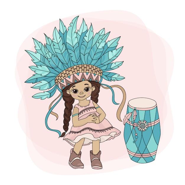 Pocahontas dance indian princess hero Vettore Premium