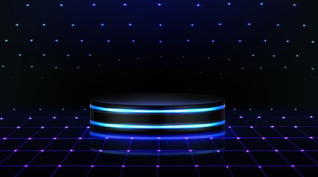 Podio al neon. palco vuoto in discoteca, pista da ballo Vettore gratuito