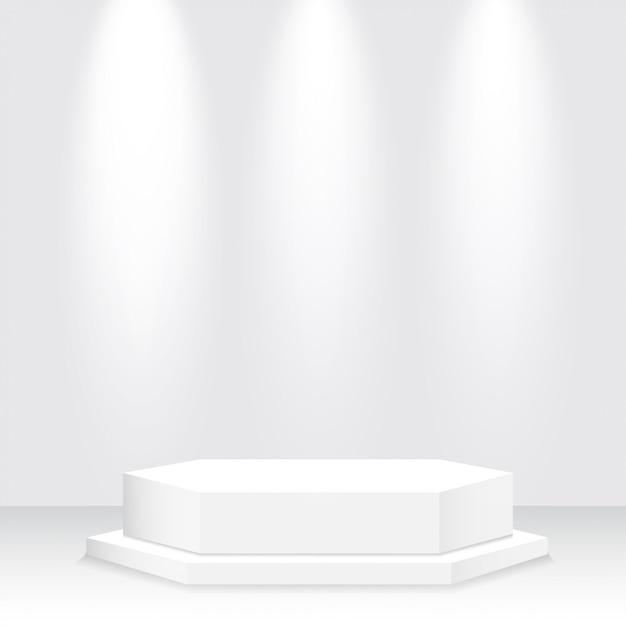 Podio bianco, piedistallo, piattaforma, riflettore Vettore Premium