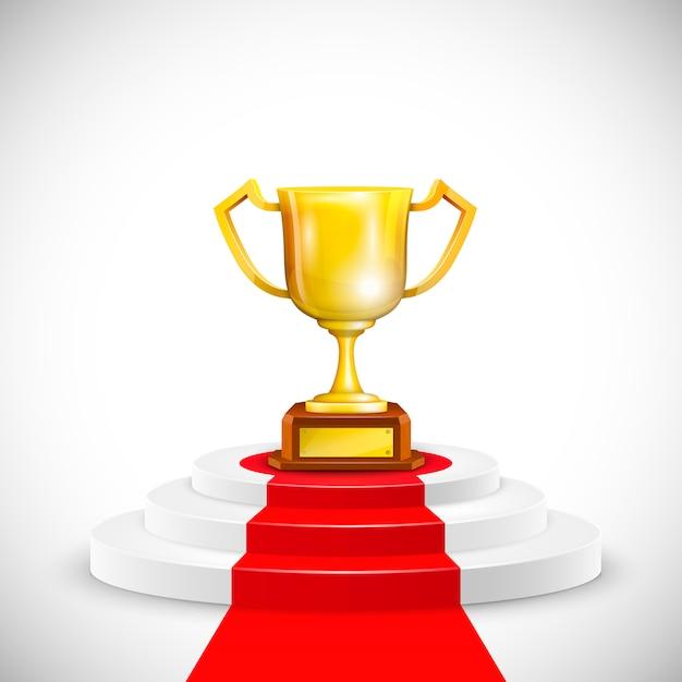 Podio con red carpet and trophy cup. Vettore Premium