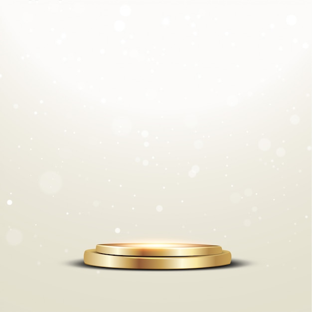 Podio d'oro con riflettori e bokeh Vettore Premium