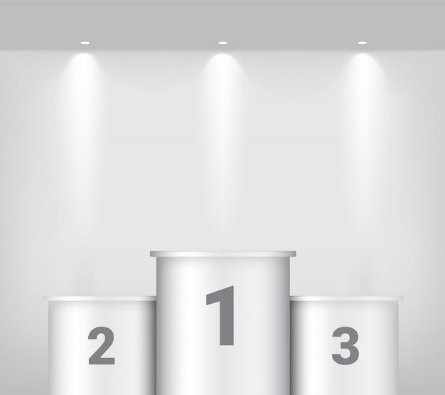 Podio del vincitore bianco con riflettori e ombra o mostra lo sfondo del prodotto. illustrazione di disegno del piedistallo Vettore Premium