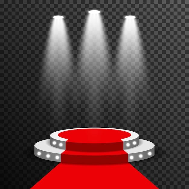 Podio della fase illuminato con il vettore del tappeto rosso trasparente Vettore Premium