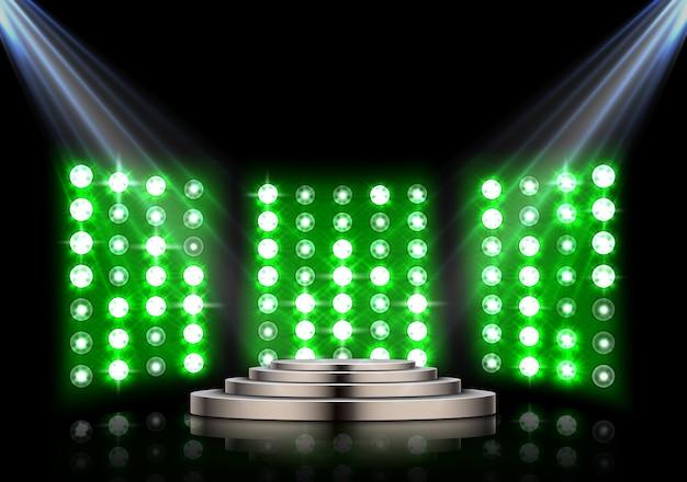 Podio di scena con faretti e sfondo di luci di scena Vettore Premium