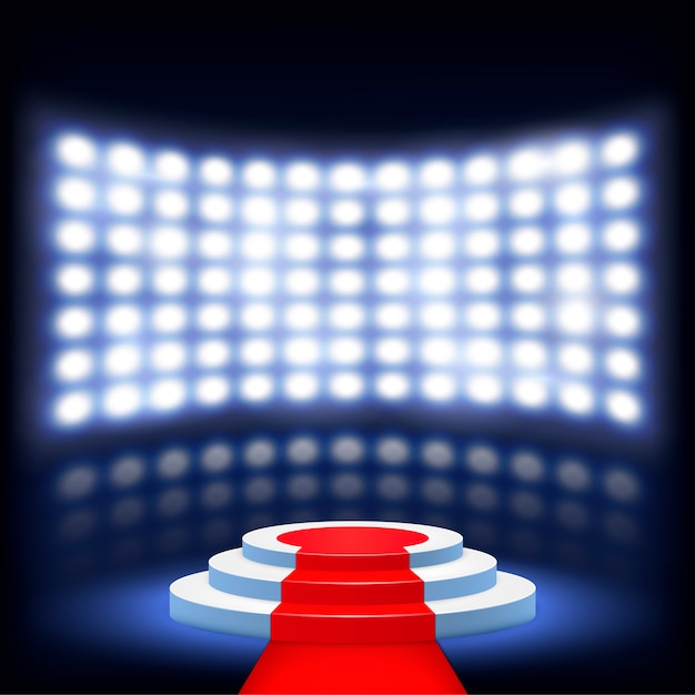 Podio illuminato per cerimonia con tappeto rosso Vettore Premium