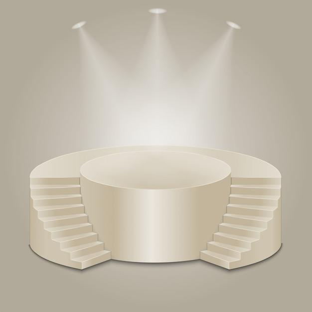 Podio illuminato vuoto Vettore Premium