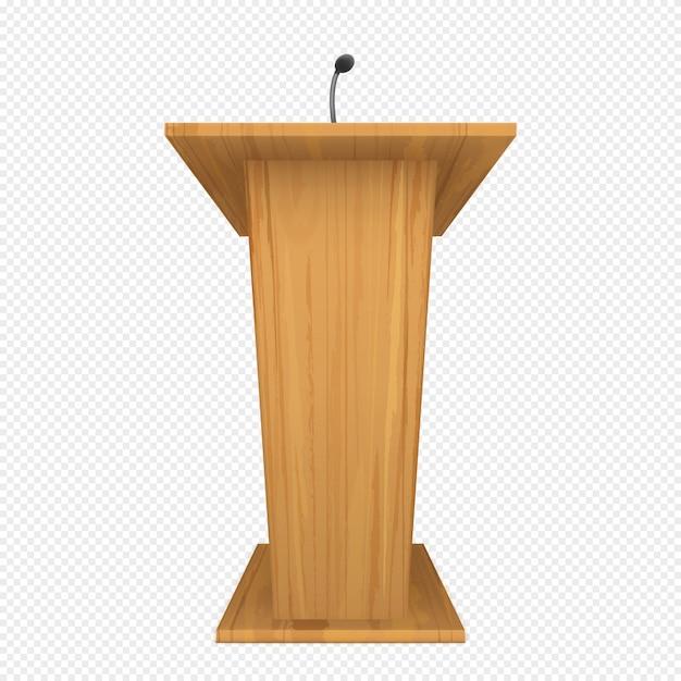 Podio o pulpito in legno con microfono Vettore gratuito