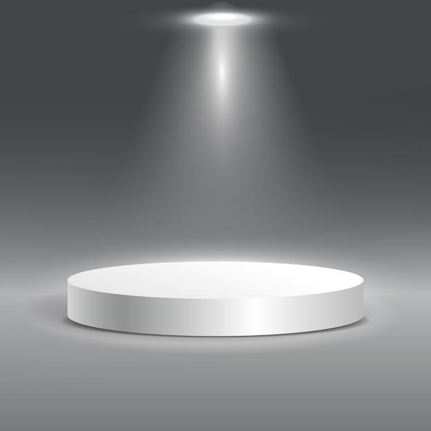 Podio rotondo bianco della fase illuminato con luce. Vettore Premium
