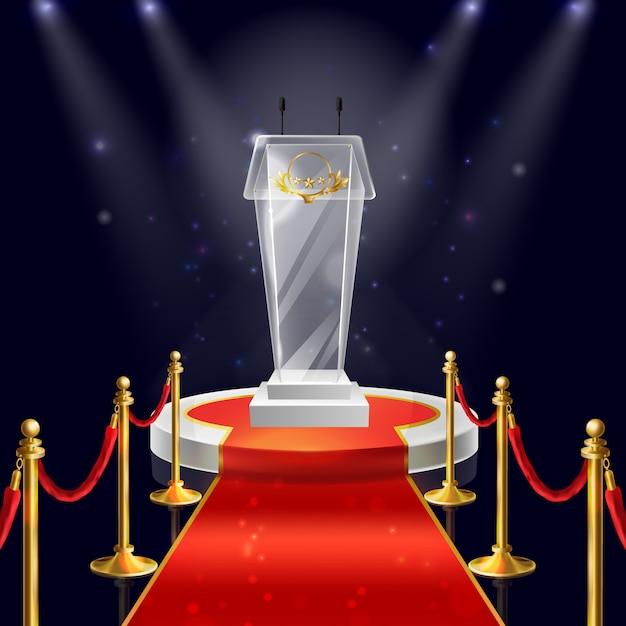Podio rotondo realistico con tribuna in vetro per parlare in pubblico, tappeto di velluto rosso Vettore gratuito