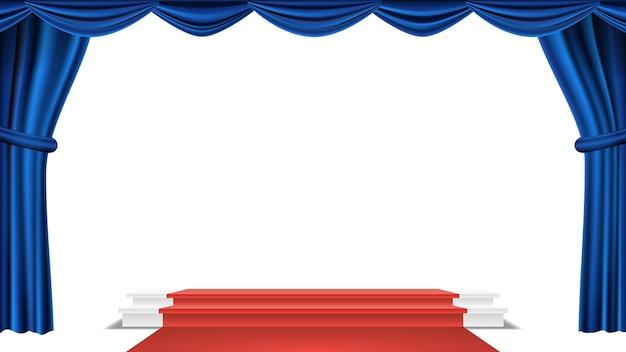Podio sotto il vettore di tenda teatro blu. premio cerimonia. presentazione. piedistallo per i vincitori. illustrazione isolata Vettore Premium
