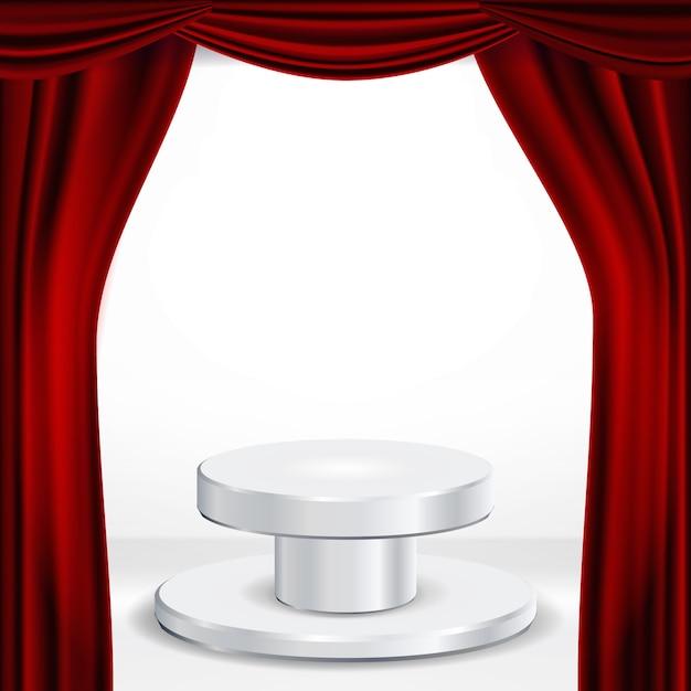 Podio sotto il vettore di tenda teatro rosso. premio cerimonia. presentazione. piedistallo per i vincitori. illustrazione isolata Vettore Premium