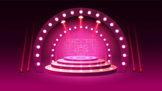 Podio sul palco con illuminazione Vettore Premium