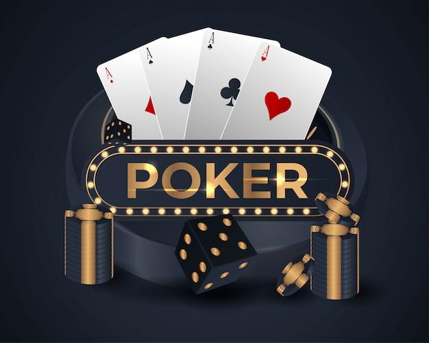Poker banner con quattro assi e diverse carte da gioco sul retro Vettore Premium