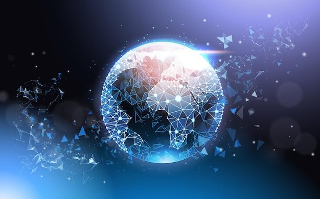 Poli rete metallica futuristica bassa del globo della terra wireframe sul concetto blu della rete globale del fondo Vettore Premium