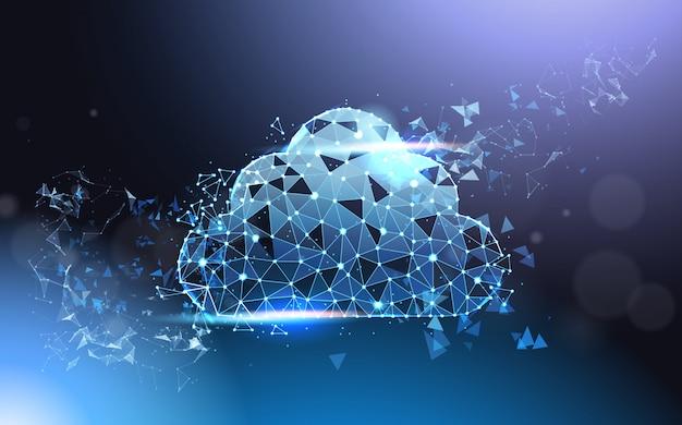 Poli rete metallica futuristica bassa di servizio di calcolo della nuvola wireframe su fondo blu concetto moderno di tecnologia di dati Vettore Premium