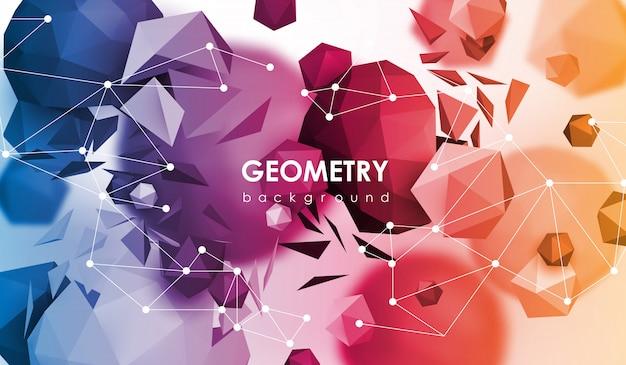 Poligonale astratto. illustrazione di rendering 3d. sfondo geometrico con elementi a basso contenuto di poli. Vettore Premium