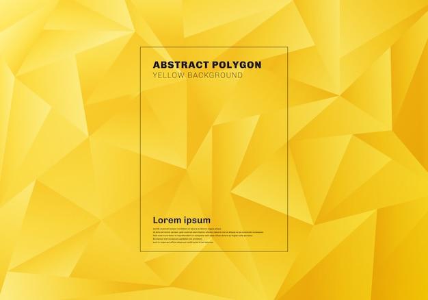Poligono basso astratto sfondo giallo Vettore Premium