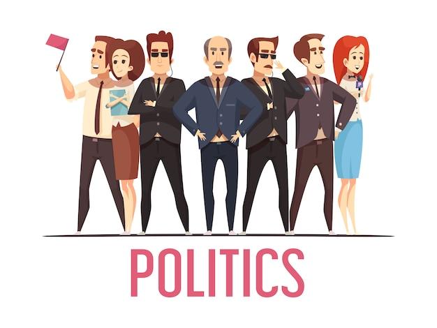 Politica elezione persone scena del fumetto Vettore gratuito