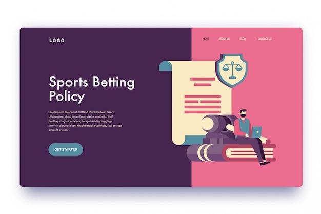 Politica sulle scommesse sportive sulla pagina di destinazione Vettore Premium