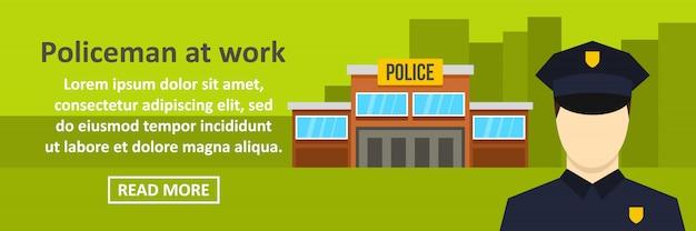 Poliziotto al concetto orizzontale del modello dell'insegna del lavoro Vettore Premium