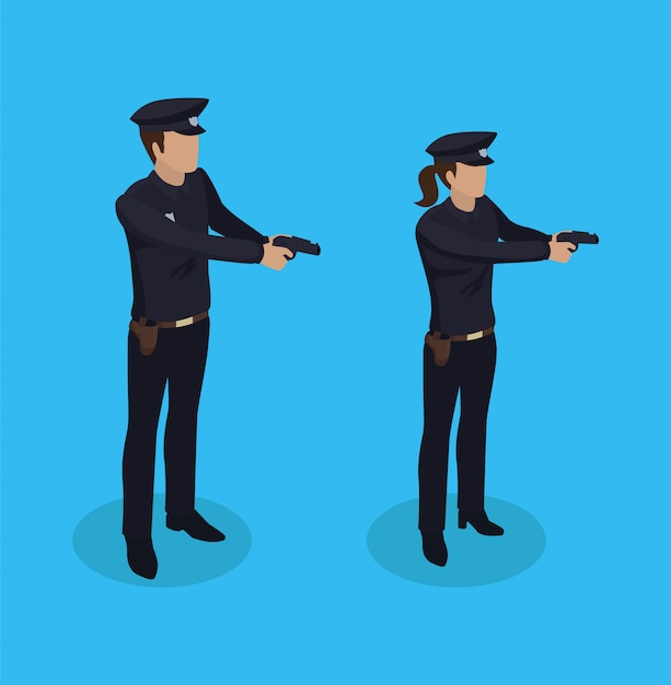Poliziotto e donna della polizia Vettore Premium