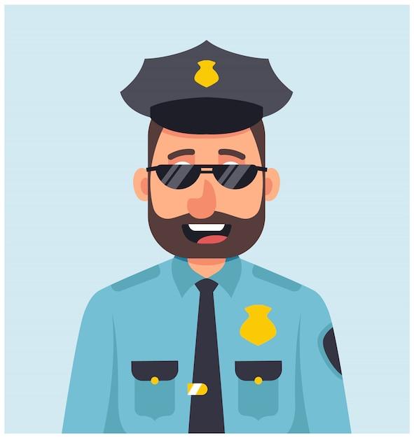 Poliziotto maschio con i vetri che sorride in uniforme blu. Vettore Premium