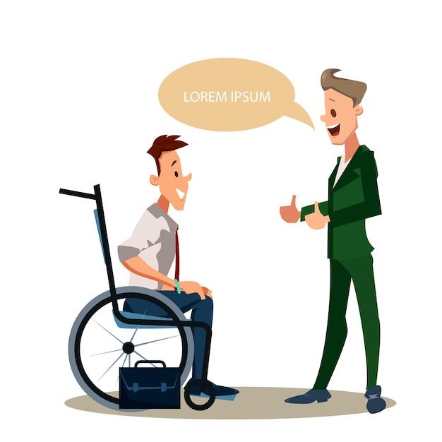 Pollice felice dell'uomo disabile su lavoratore di ufficio in vestito Vettore Premium