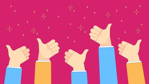 Pollice su feedback. la riuscita gente dell'ufficio con i pollici aumenta i gesti di mano, il lavoro di squadra e l'illustrazione positiva di congratulazioni Vettore Premium