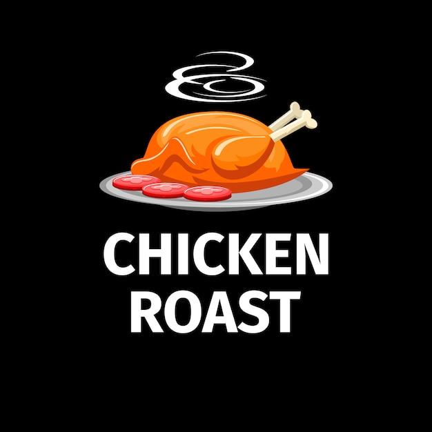 Pollo arrosto moderno con logo fumo su sfondo scuro Vettore Premium